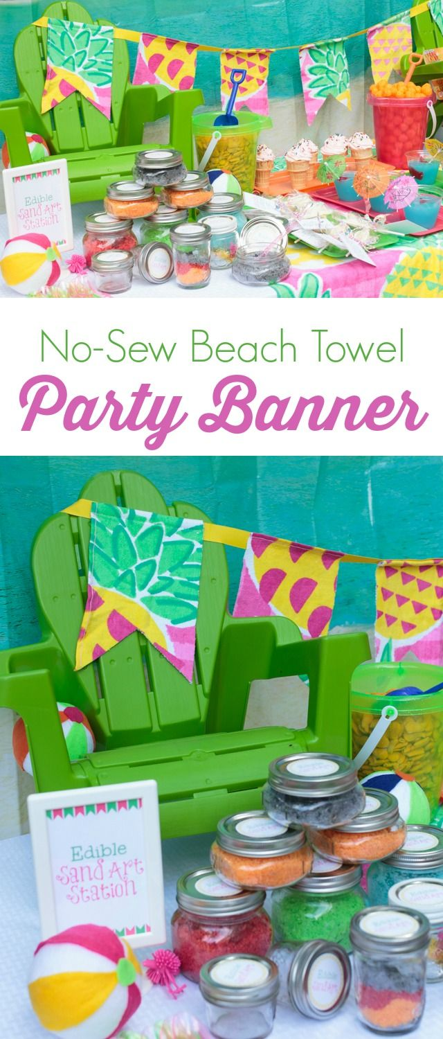 No Sew Beach Towel Party Banner With Images Beach Party