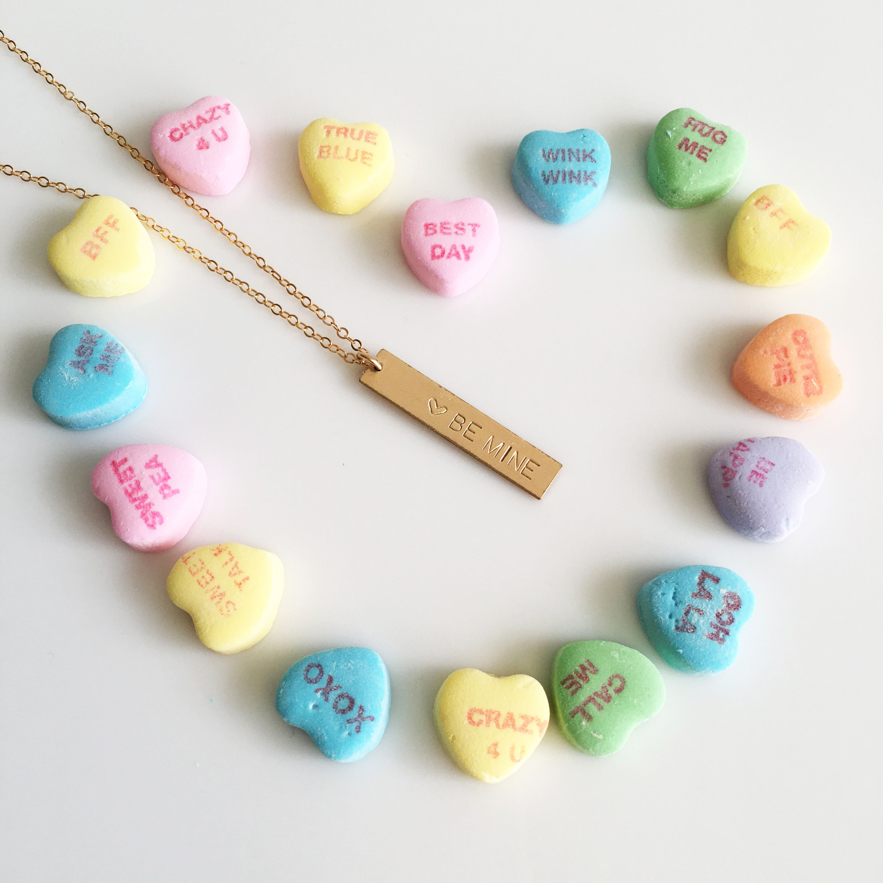 personalized valentine's day jewelry, gifts for her, hand stamped necklace, heart candy, boho jewelry, love necklace, anniversary necklace, wedding jewelry, gypsy jewelry, sweetheart candy, valentine's day, valentines gift.