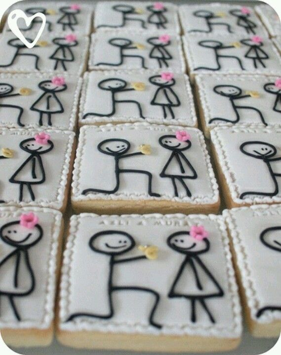 perfect cookies for an engagement party or bridal showerany stick figure picture