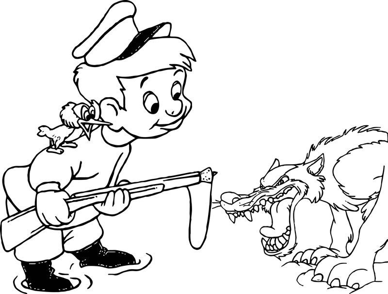 Angry Wolf And Peter Coloring Page Disney Coloring Pages Cute Coloring Pages Bunny Coloring Pages