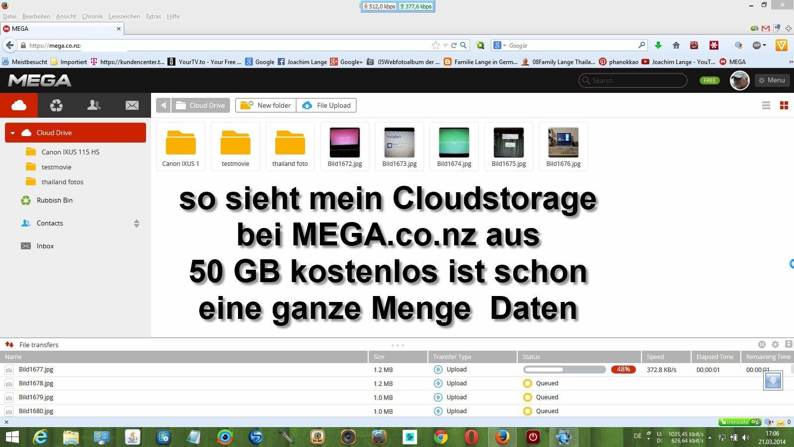 also ich kann den kostenlosen Speicherplatz bei Mega,co.nz mit 50 GB für Daten uneingeschränkt empfehlen !!!
