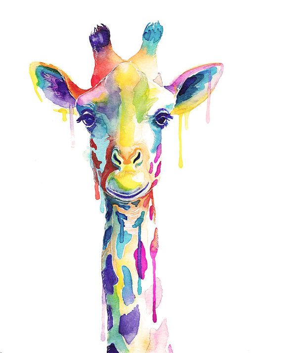Colorful Giraffe Watercolor Print Wild Animals Wall Art