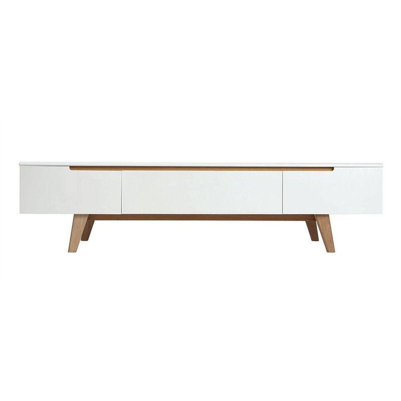 Meuble Tv Scandinave Blanc Brillant Et Frene 180cm Melka Miliboo La Redoute Mobile Scandinavian Furniture Scandinavian Tv Unit Tv Furniture