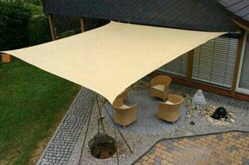 Canvas sun shade awning easy inexpensive too | backyard ... on Canvas Sun Shade Pergola id=22583