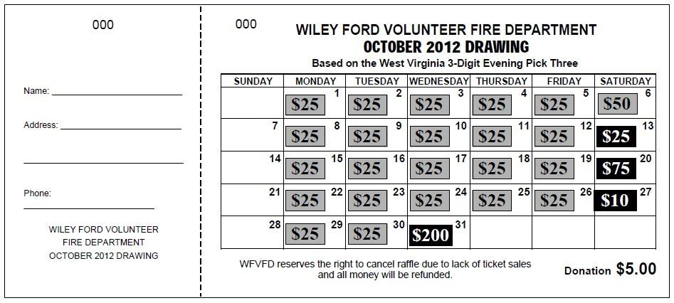 this raffle ticket is a good fundraising tool make a payout every day of the month or as many as you would want