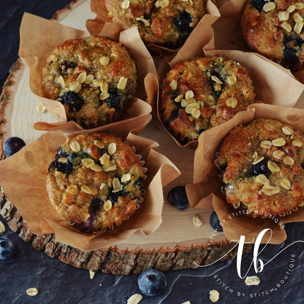 Healthy Heartier Blueberry Muffins