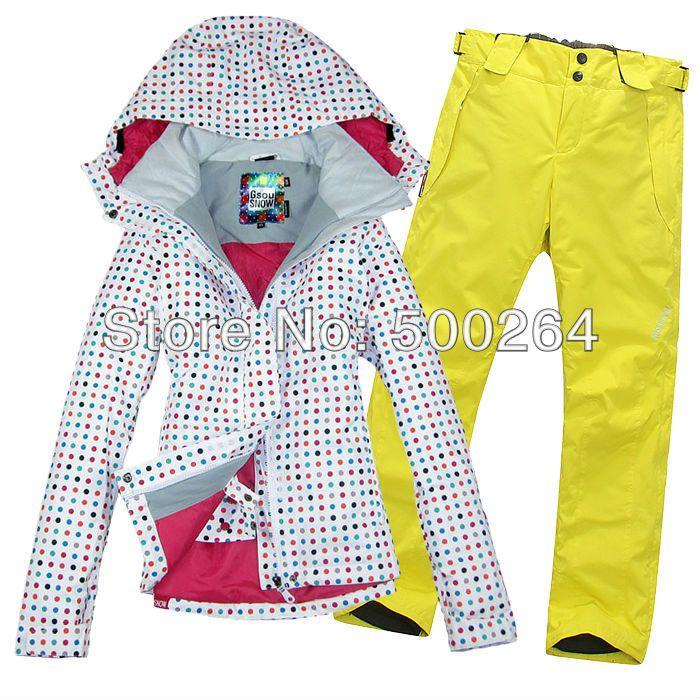 free shipping womens ski suit snowboard suit set ladies snow ensemble  skiwear white jacket and pants ski wear in women c9387dfaaa