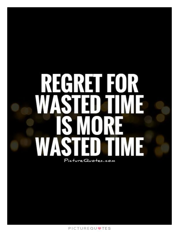 Regret For Wasted Time Is More Wasted Time Picture Quotes Wise