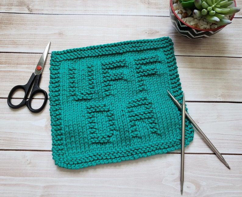 Uff Da Knit Dishcloth PDF Pattern - Easy Beginner Knitting ...