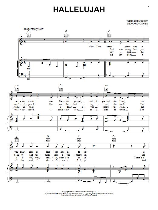 Hallelujah Piano Simple Hallelujah Sheet Music By Leonard Cohen