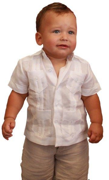 4db788cf3 Linen Guayabera Shirt for Baby Boys | Bautizo | Ropa para bautizo ...