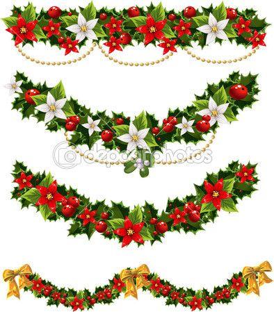 guirnaldas de navidad de acebo y murdago y arco verde ilustracin de stock