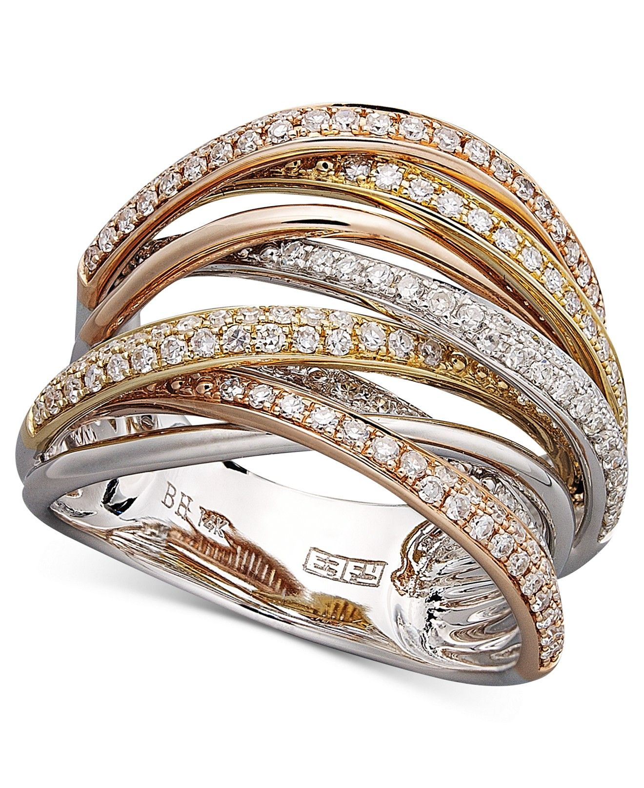 06c65bd36 Trio by EFFY Diamond Diamond Overlap (3/4 ct. t.w.) in 14k White Gold and  Rose Gold - Rings - Jewelry & Watches - Macy's
