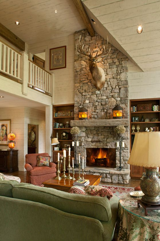 Cozy Lake House With A Fabulous Screened Porch Rustic Fireplace Decor Traditional Family Rooms Stone Fireplace