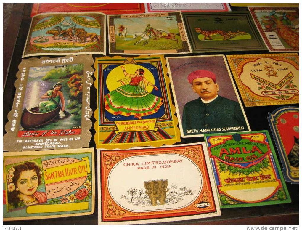India 50 Diff Vintage Trade Textile Label Multi-colour Elephant Lion Tiger Monkey Cinema Film Bird Etc - Vintage Clothes & Linen