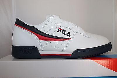 7615b85e2615 Mens Fila Original Fitness Classic Retro Casual Athletic Shoes White Navy  Red