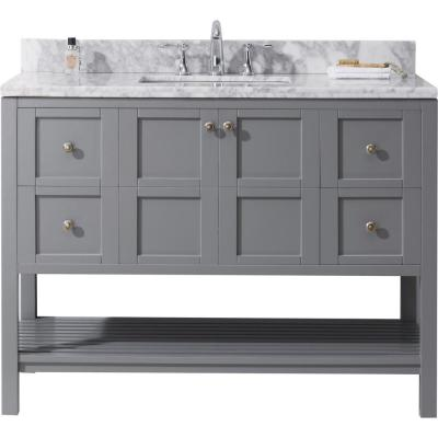 Virtu Usa Winterfell 49 In W Bath Vanity In Gray With Marble