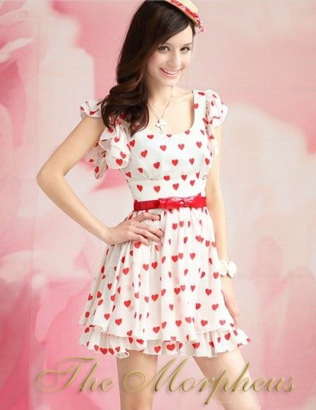 Morpheus Boutique  - White Designer Vintage Heart Ruffle Hemline Princess Dress