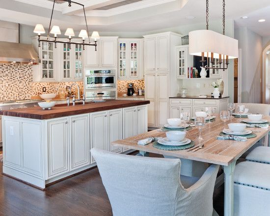 Farm Tables Kitchen Design Ideas, Pictures, Remodel And Decor | Modern Kitchen Tables, Kitchen Island Dining Table, Home Kitchens