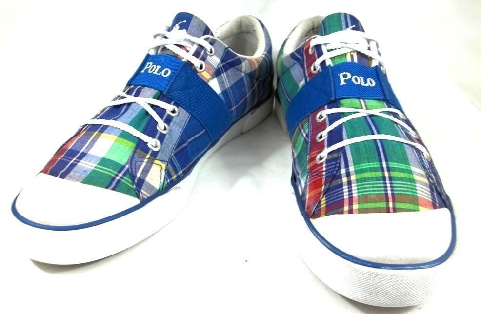 Ralph Lauren Sneakers Plaid Multi-Color Canvas Skateboarding Shoes Mens 13 D #PoloRalphLauren #Skateboarding