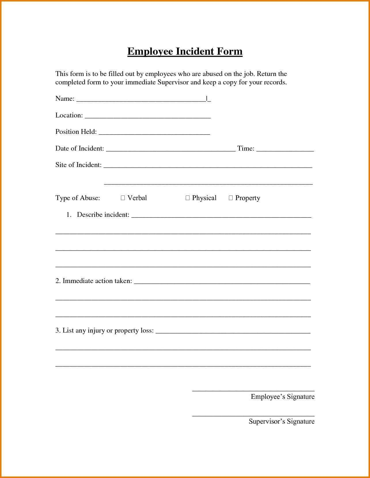 Employee Incident Report Sample Examples Letter Tagalog Form with