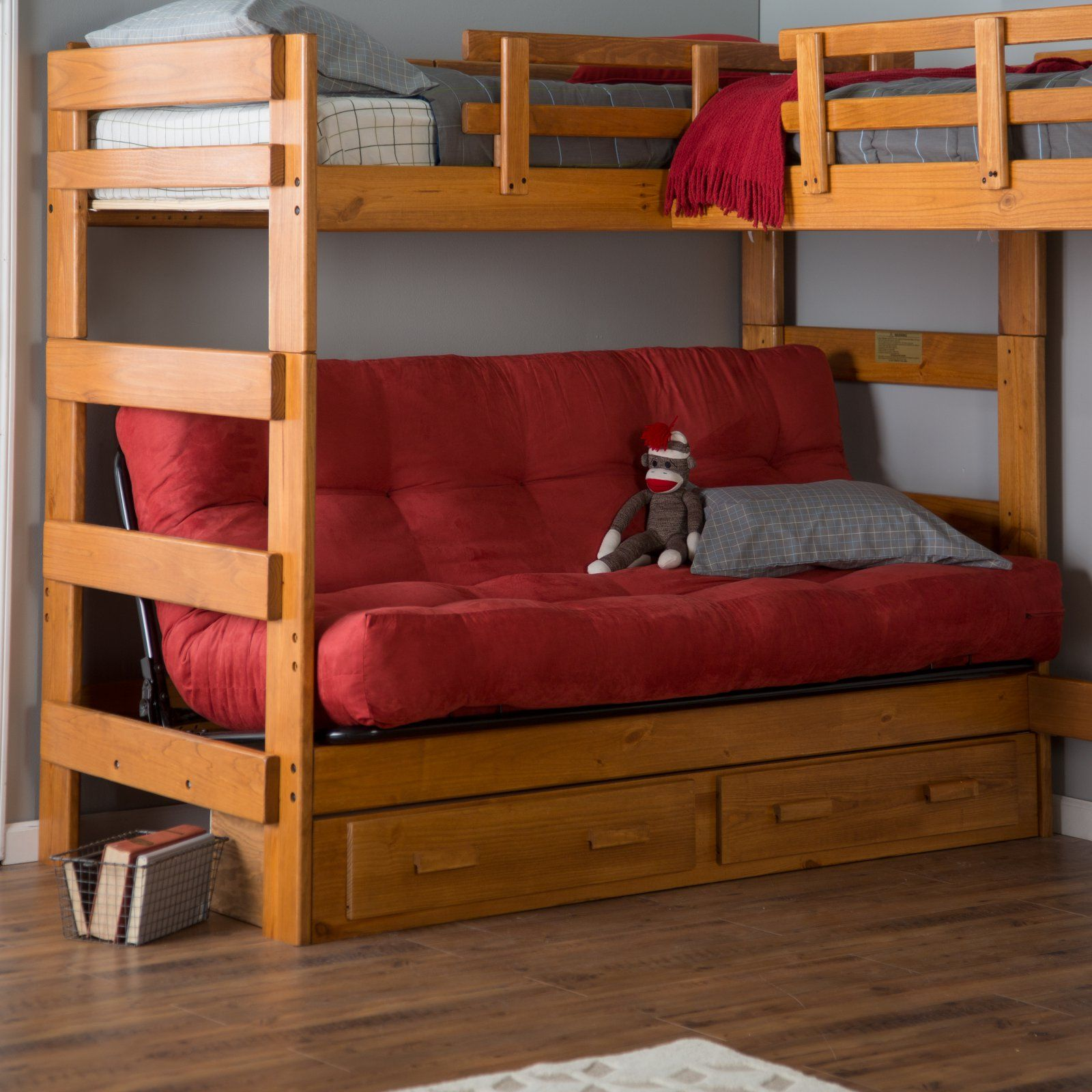 Woodcrest Heartland LShaped Futon Bunk Bed with Extra
