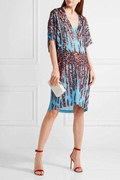 Summi Sequin-embellished Chiffon Mini Dress - Light blue By Malene Birger hiZC6vUHUx