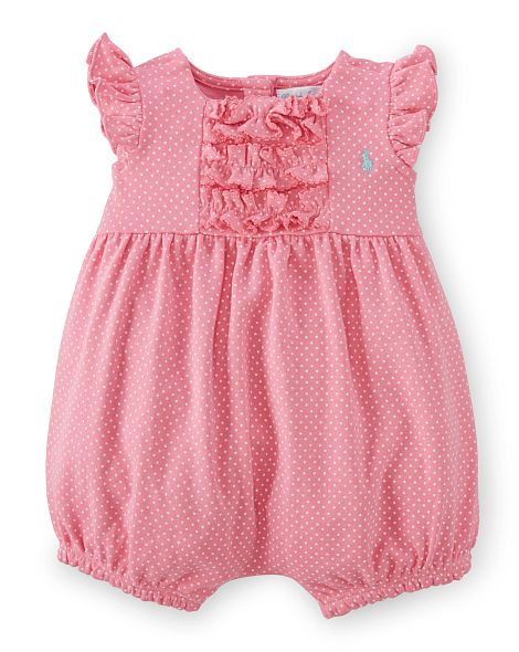 Ralph Lauren Baby Girls Ruffled Plaid Cotton Shortall