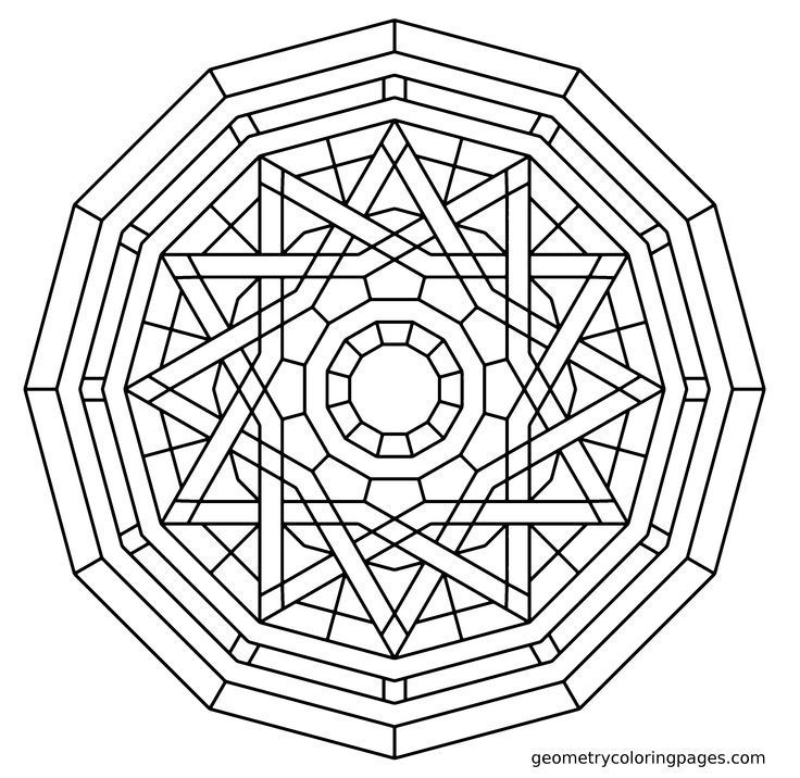 Geometry coloring page elemental geometry mandala coloring pages
