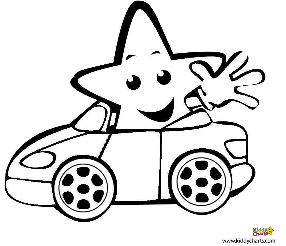 Colouring in reward charts - Car Free Colouring Pages