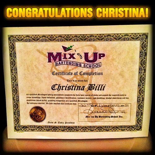 bartender mixology certificate billi marie mixologist bartending congratulations nj certificates
