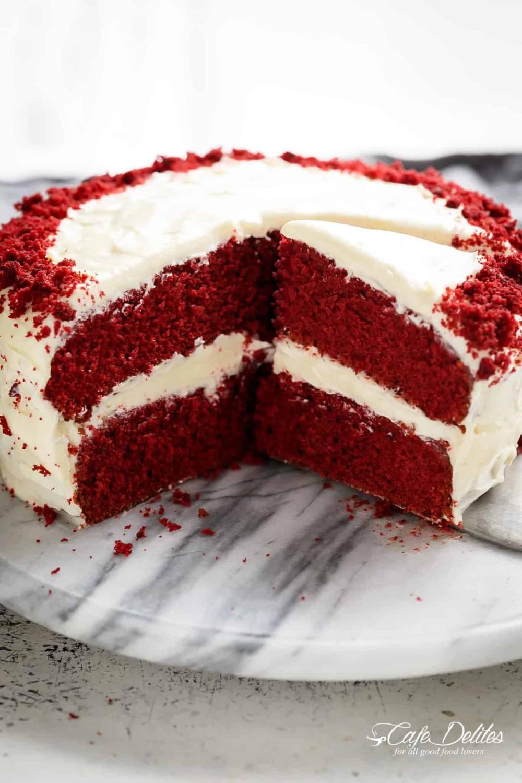 The Best Red Velvet Cake With Cream Cheese Frosting Is Fluffy Soft Buttery And Moist Cafedelites Com In 2020 Cake Cafe Velvet Cake Recipes Best Red Velvet Cake