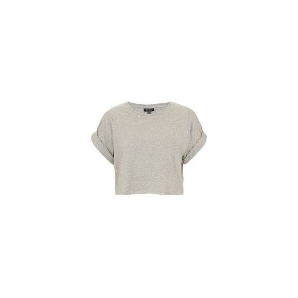 846a99fda0b Topshop Petite Crop Roll Back T-Shirt ❤ liked on Polyvore featuring tops, t