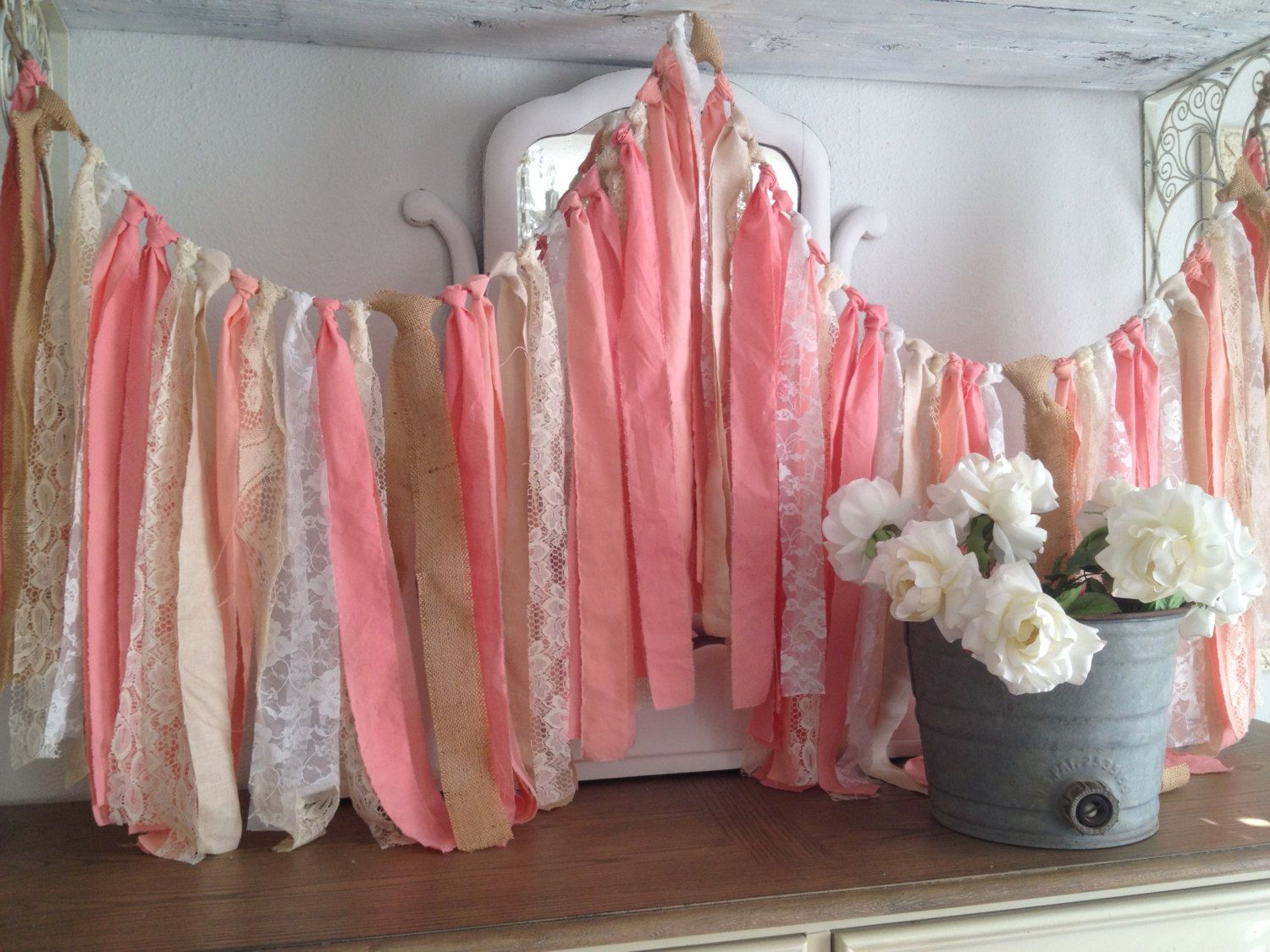 6 ft Burlap and Lace Wedding Garland, Coral Rustic Wedding Decor ...