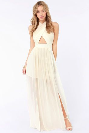 Pleat-er Patter Cream Color Block Maxi Dress | Long junior ...