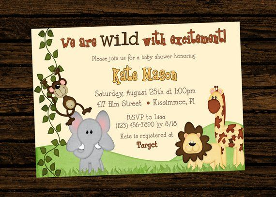 Custom Baby Shower Jungle Themed Birthday Party Invitations Diy Printable File