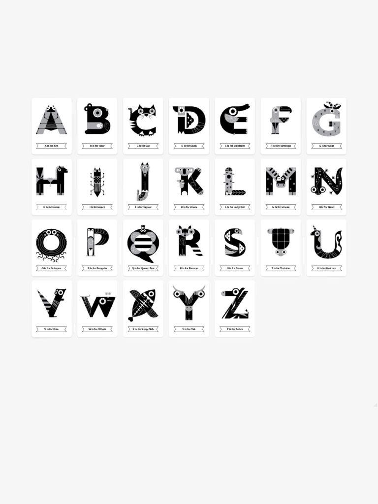 Animal Alphabet Flash Cards - Black & White | Alphabet ...