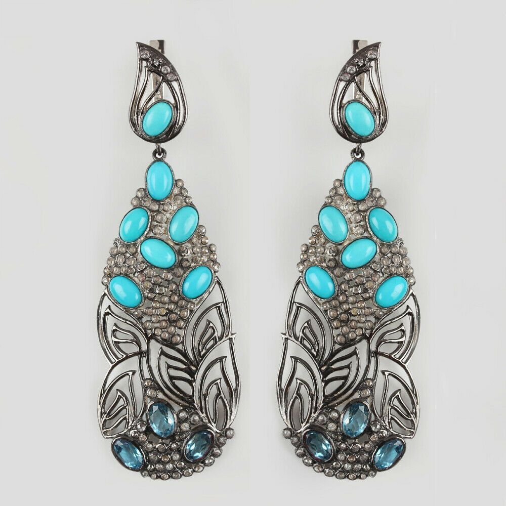 Turquoise Solid 925 Sterling Silver Leaf Dangle Earrings