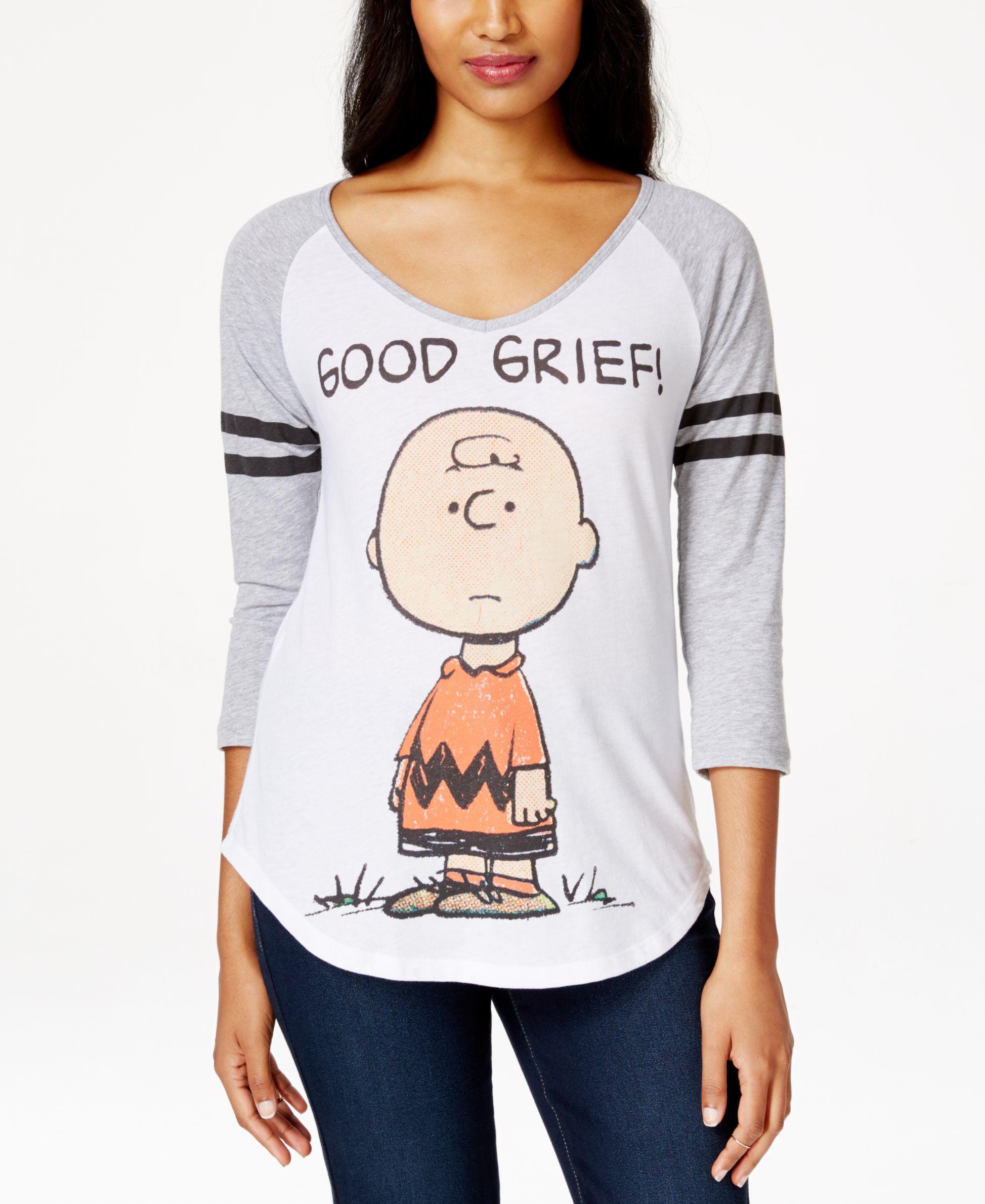 e01c8d0e986 Hybrid Juniors  Peanuts Charlie Brown Graphic Baseball T-Shirt ...
