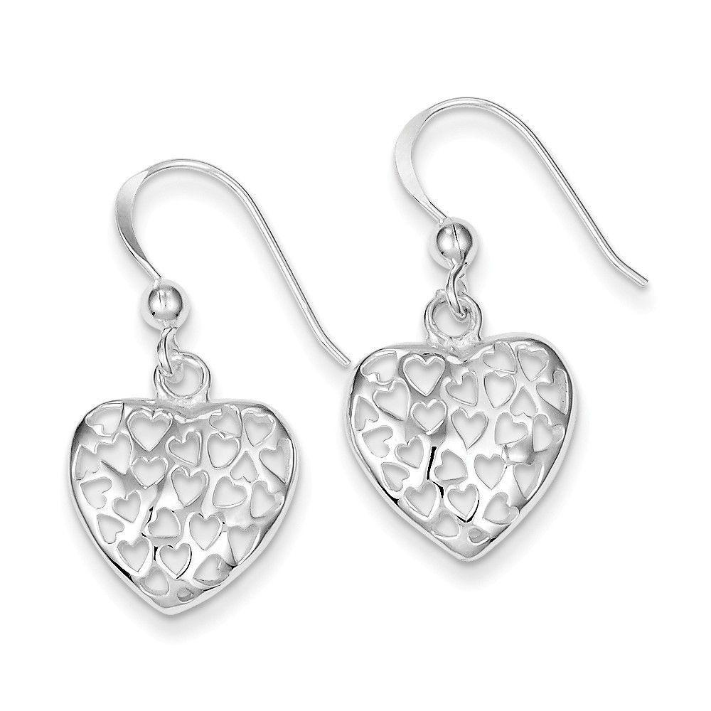 Sterling Silver Small Polished Heart Dangle Earrings