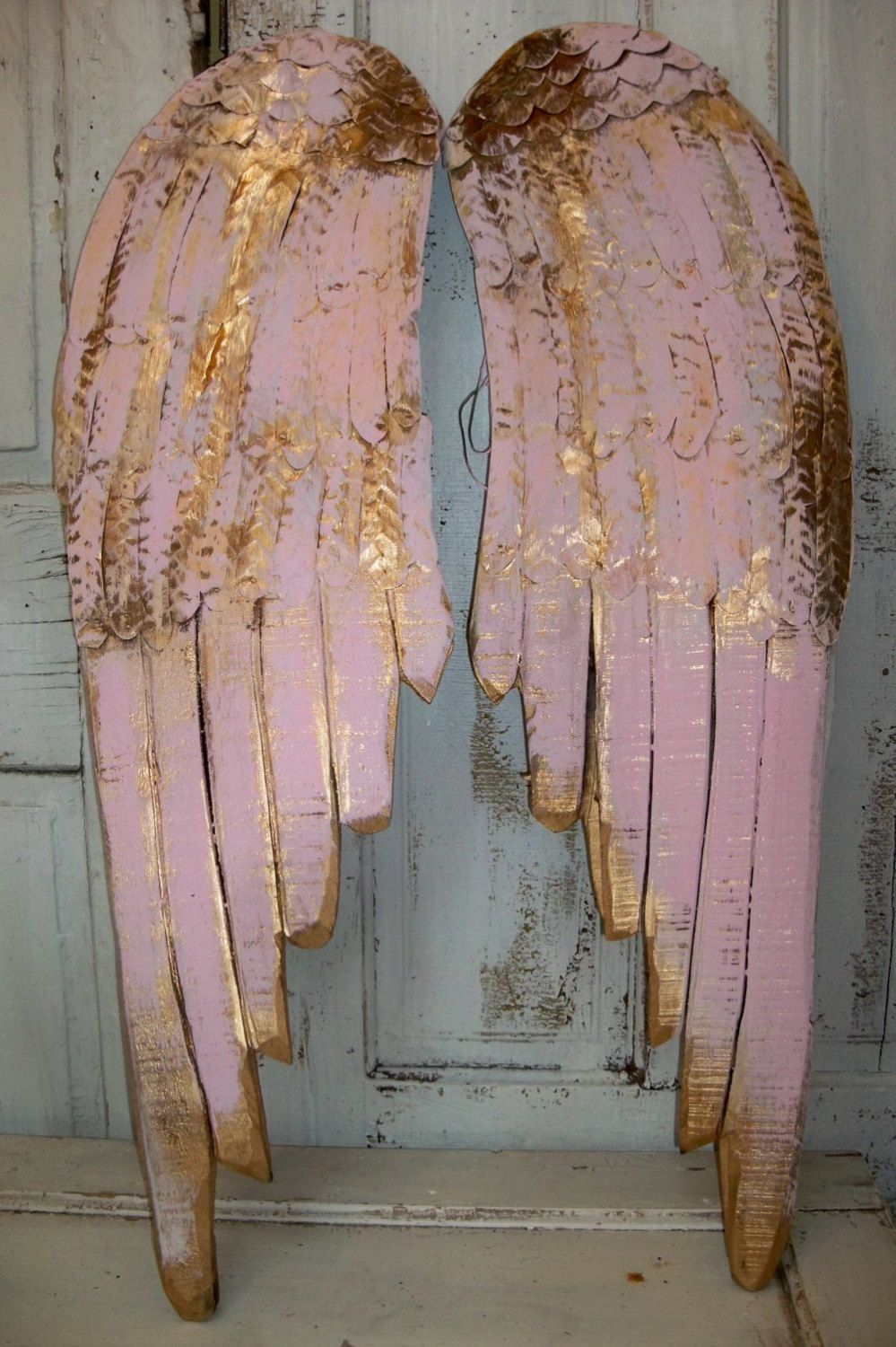 Angel Wings Large Wood Metal Carved Wall Sculpture French Decor Pink