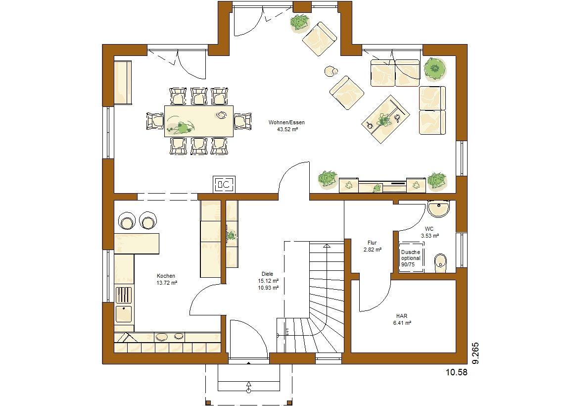 Clou 157 satteldach grundriss erdgeschoss haus planen for Zweifamilienhaus modern grundriss