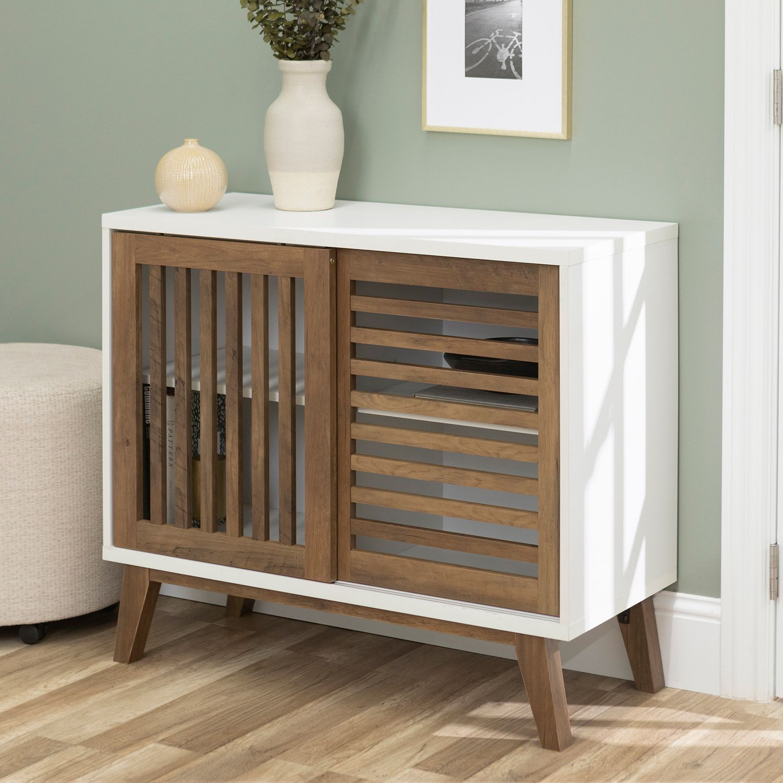 Sliding Slat Door White & Rustic Oak Accent Cabinet