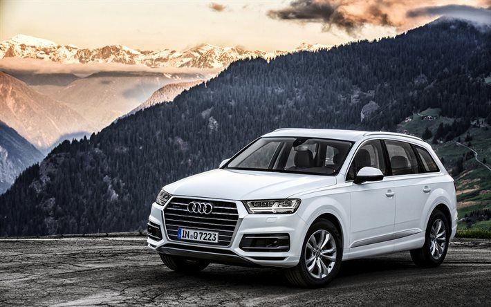 Download Wallpapers Audi Q7 2016 Tdi Quattro Crossover White