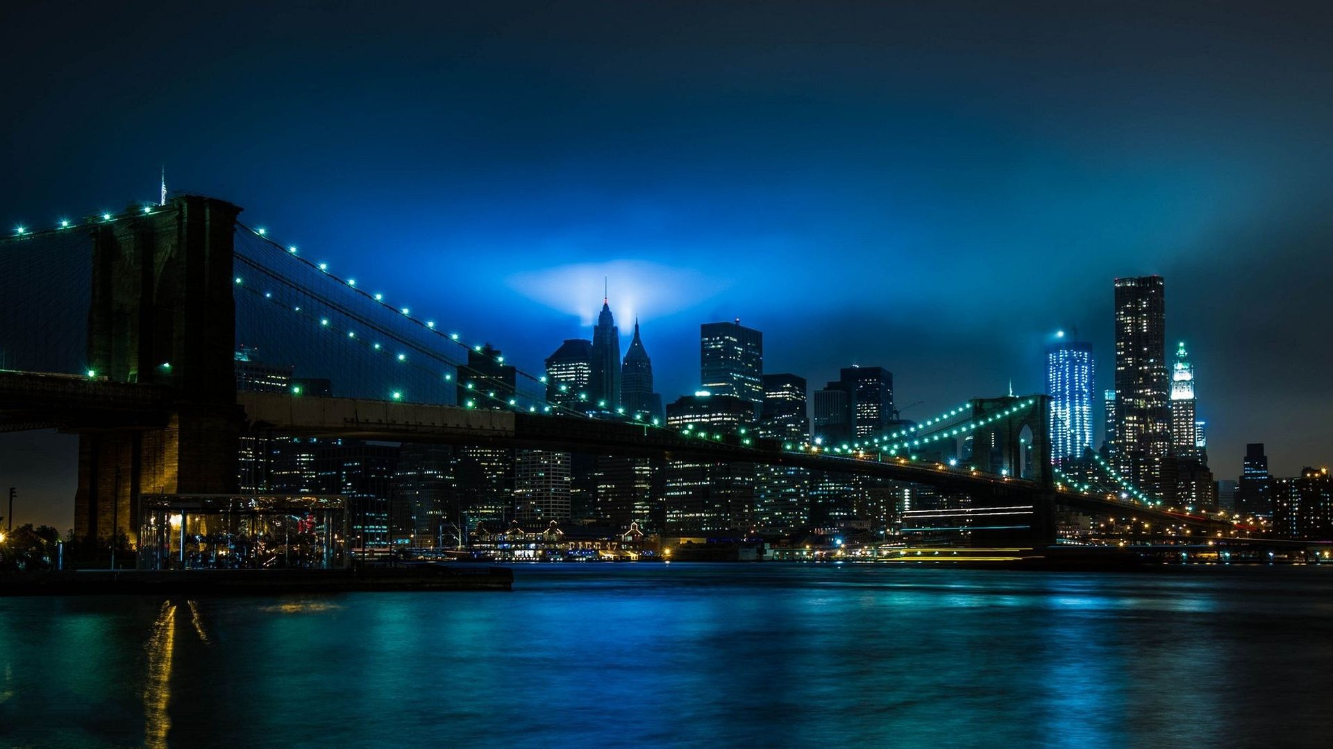 Brooklyn Bridge At Night Background Bridge Wallpaper New York Night New York Wallpaper