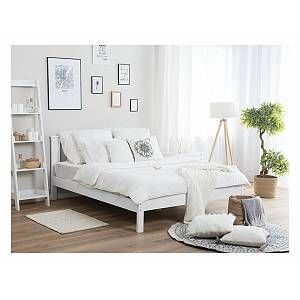 Wooden EU King Size Bed White TANNAY - 139768