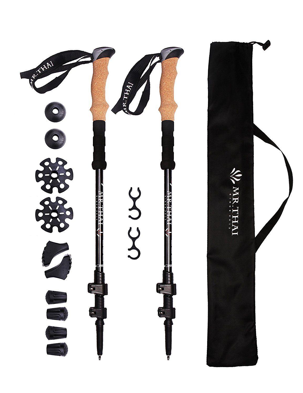 Mr Thai 100 Carbon Fiber Cork Handle Trekking Poles Hiking Poles Walking Sticks Ultralight Collapsible Trekking Poles Hiking Poles Trekking Poles Hiking