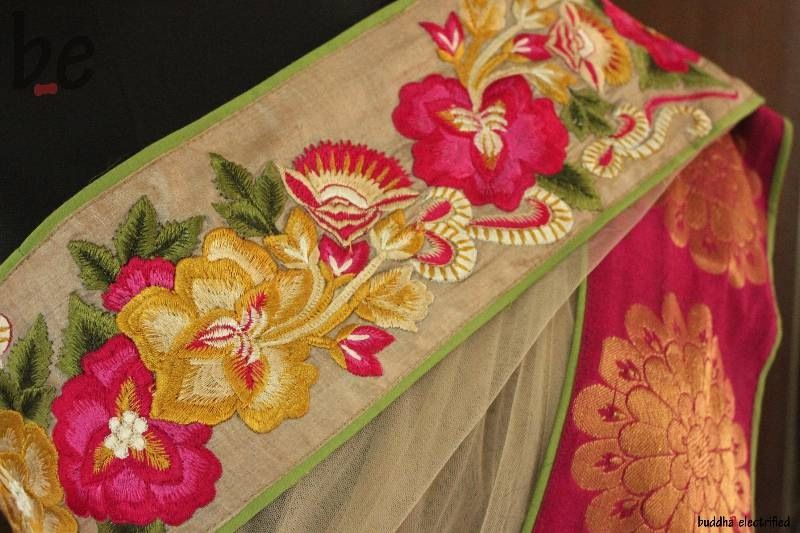 Parsi Gara Embroidery Border Saree Parsi Work Pinterest