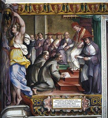 El Papa Orsini, Nicolás III (1277-1280), recibe el juramento de Rodolfo I, rey de los romanos y recibe sus donaciones