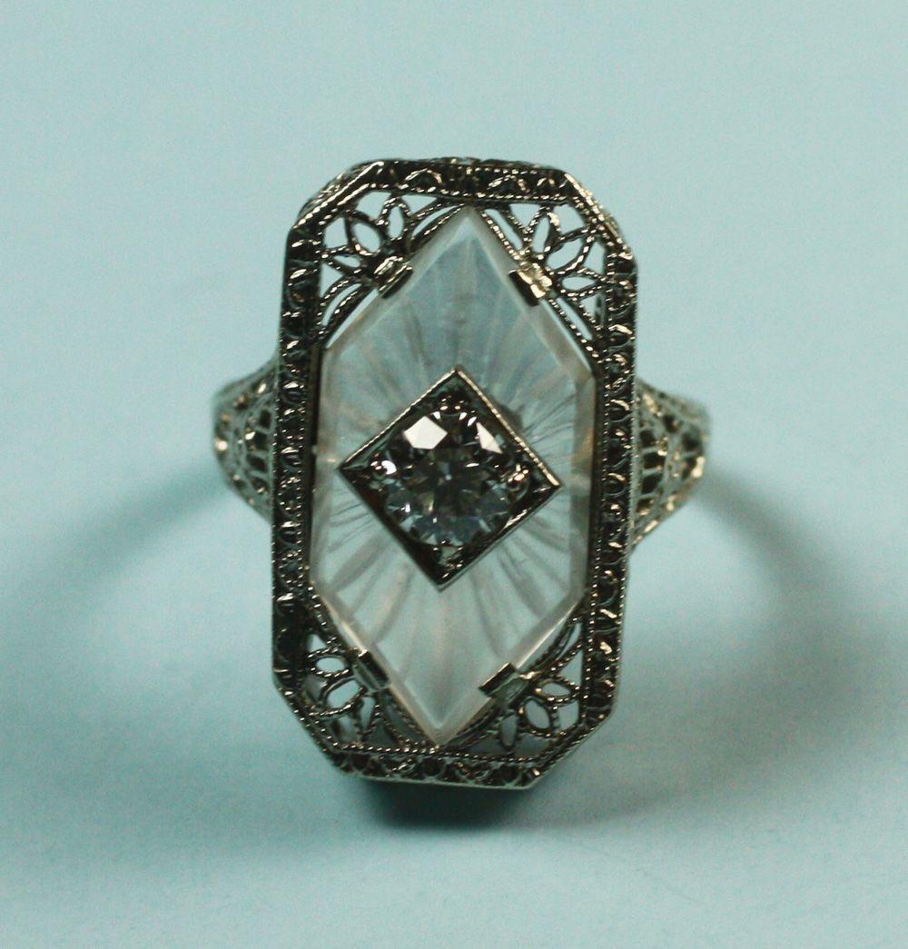 1316dac0ab26 Art Deco 14K White Gold Camphor Glass Diamond Ring Signed
